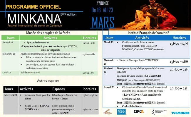Festival International du Conte MINKANA, Le programme officiel 2019.